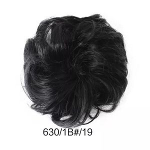"BRAND NEW 6.6"" 35g THICK BLACK MESSY BUN SCRUNCHIE"